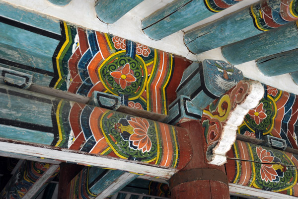 Painted beams of the gate to the Songgyungwan complex, Koryo Museum, Kaesong