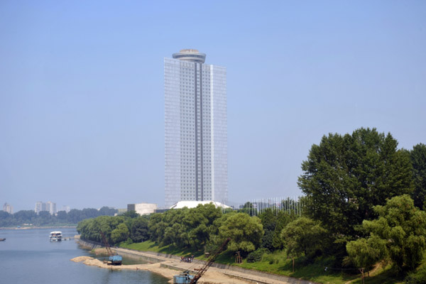 Yanggakdo International Hotel on an island in the Taedong River, Pyongyang