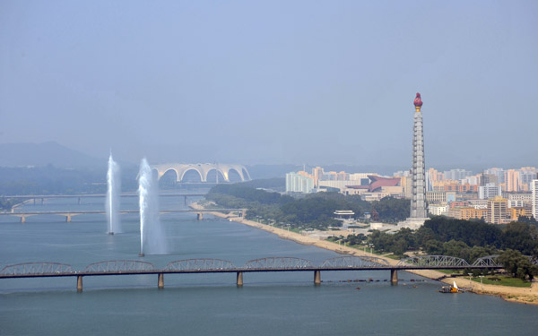 Fountains in the Taedong River in front of Juche Tower, Pyongyang