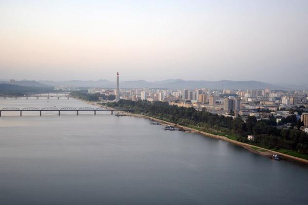 Taedong River looking north from the Yanggakdo Hotel, Pyongyang