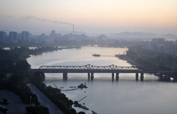 Taedong River looking south from the Yanggakdo Hotel, Pyongyang