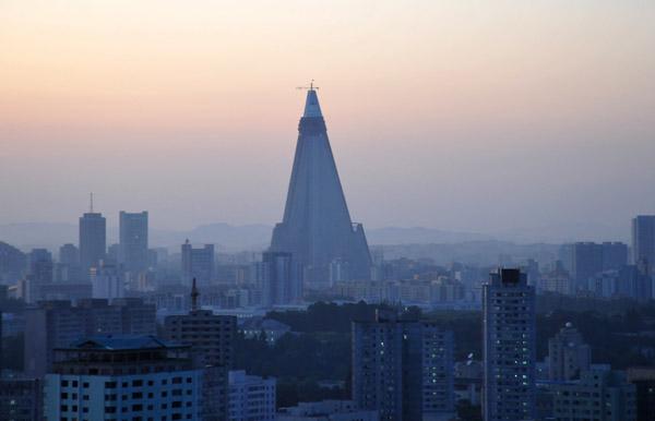 Ryugyong Hotel, Pyongyang, from the Yanggakdo Hotel