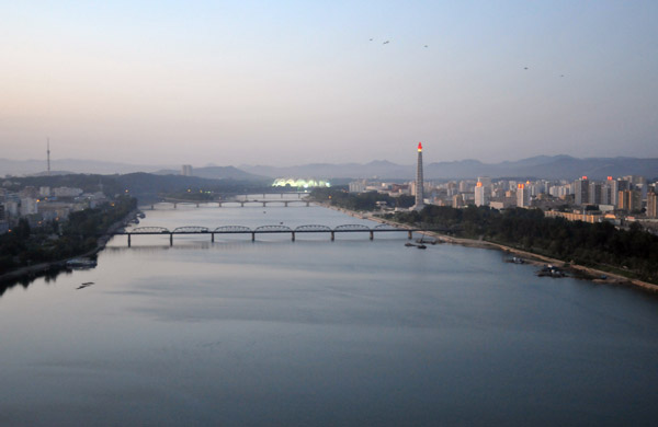 Taedong River from the Yanggakdo Hotel, Pyongyang