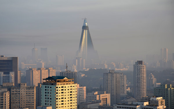 Ryugyong Hotel rising above the early morning mist