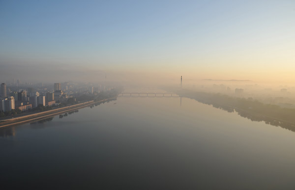 Taedong River in the morning, Pyongyang