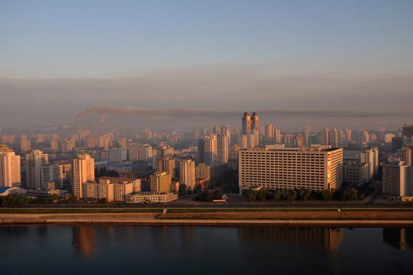 Pyongyang from the Yanggakdo International Hotel, early morning