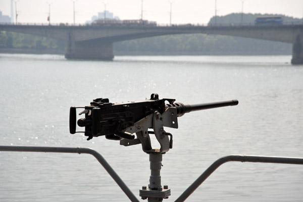 50 cal machine gun on the stern of USS Pueblo