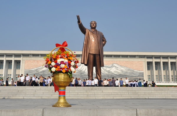 Often the first stop on a visit to Pyongyang, everyone is required to bow to the statue of Kim Il Sung after flowers are laid