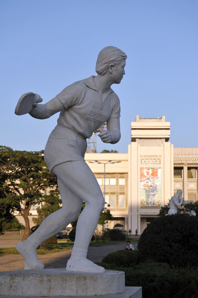 Statue of a ping pong player, Kim Il Sung Stadium