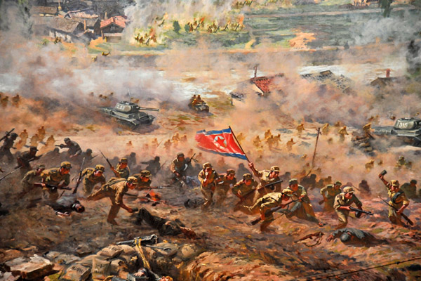 North Korean soldiers advancing at the Battle of Taejon