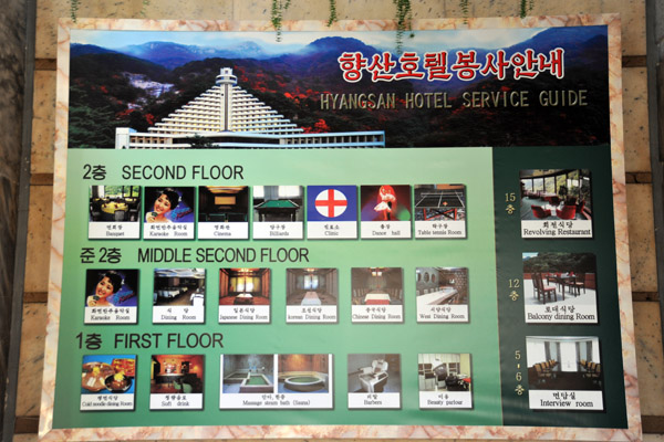 Services available at the Hyangsan Hotel