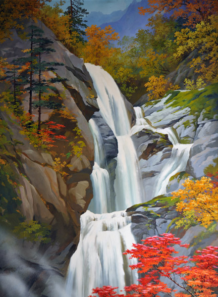 Paintings of the Mt. Myohyang waterfalls in the Hyangsan Hotel