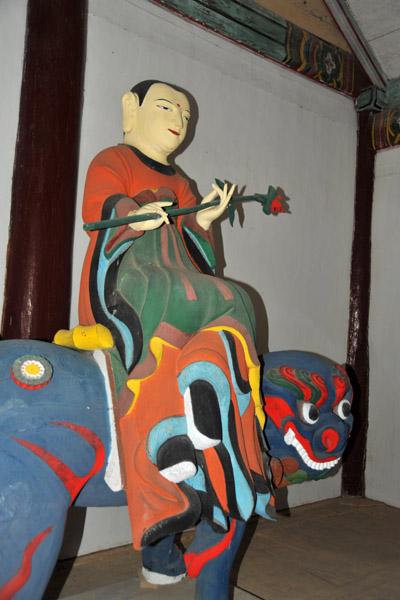 Figure riding a haetae in the Haetal Gate, Pohyon Temple