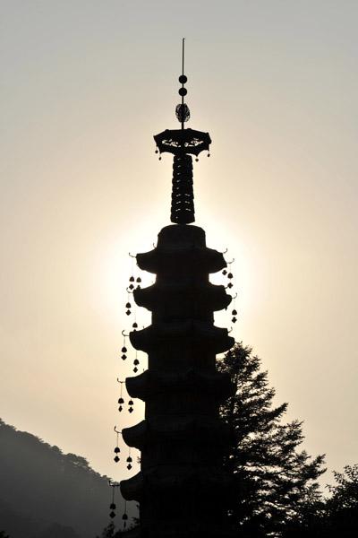 Late afternoon sun behind the  Sokka Pagoda