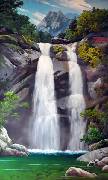 Painting of a Mt. Myohyang waterfall, Hyangsan Hotel