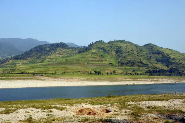 Terraced hillside above the Chongchon River, North Korea