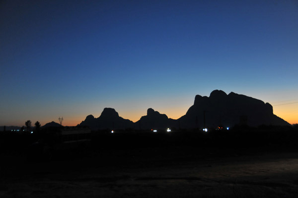 Dawn in Kassala with the outline of the Taka Mountains