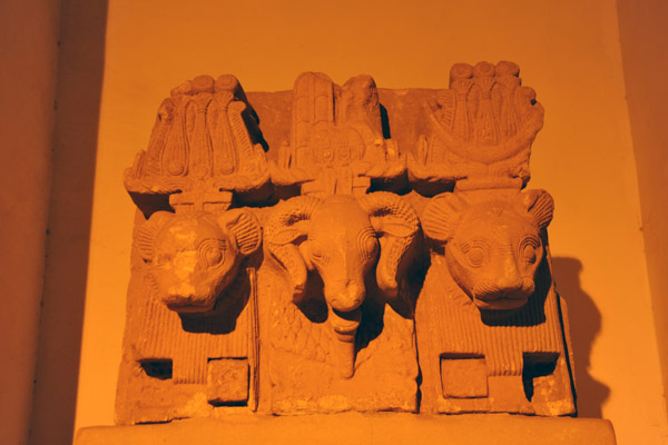 Scupture of the ram-headed god Amon with the lion-headed gods Shu and Tefnut from Musawarat Al Safrra