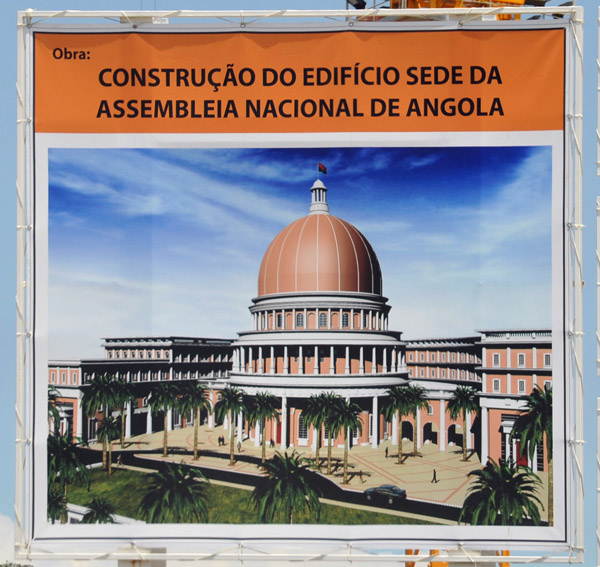Artists drawing of the new National Assembly of Angola under construction in Luanda