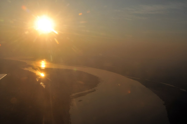 Sunset over the Irrawaddy River taking off from Bagan Airport