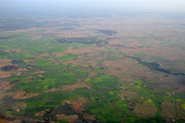 On approach to Yangon Airport, Myanmar (Burma)