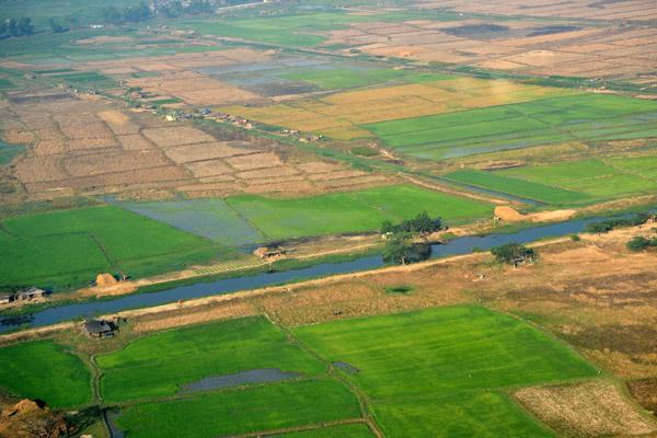 Farmland and canal north of Yangon Airport