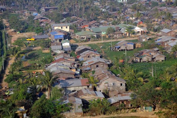 Traditionally built houses in Mingaladon, next to Yangon Airport, Myanmar (Burma)