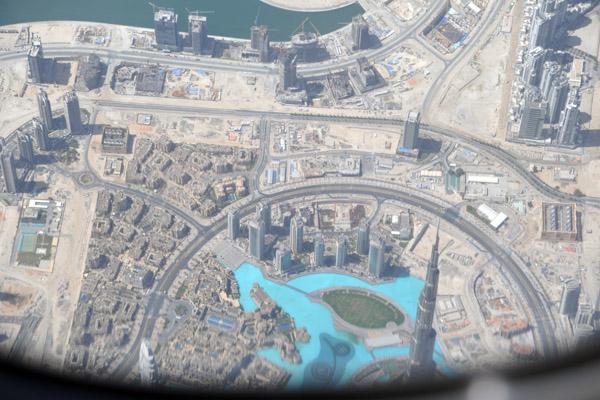 Flying over the top of Burj Khalifa