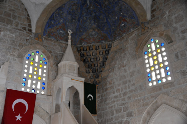 The Mosque of Počitelj displaying the Turkish flag