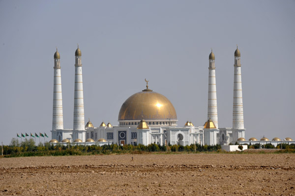 The mosque was built on the site where President Niyazovs mother was killed during the devastating earthquake of 1948