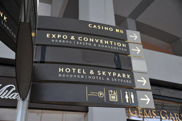 Directions to the Casino, Expo & Convention and Hotel & Skypark, Marina Bay Sands