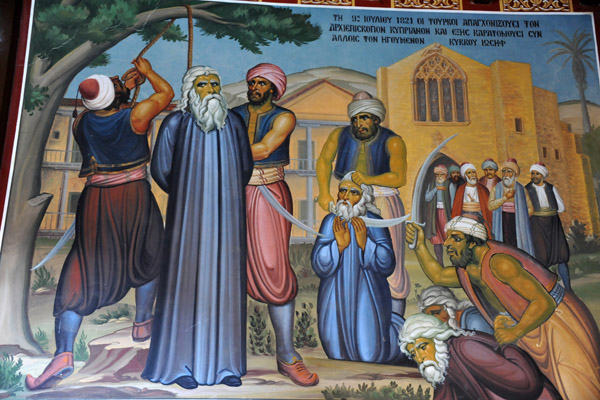Mural - 9 July 1921 - The Turks hung Archbishop Kyprianos along with Abbot Joseph of Kykkos Monastery and 484 Greek Rebels