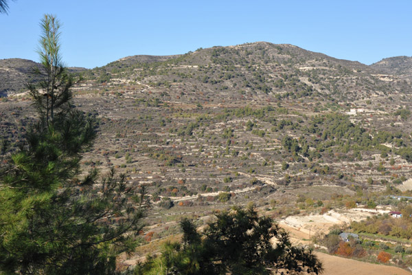 Driving north into the mountains along the B8 (E802) road from Limassol