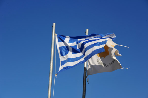 The flags of Greece and the Republic of Cyprus at the war memorial