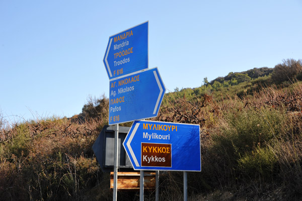 I decided to follow that sign for Kykkos Monastery which took me on narrow forest road to the town of Mylikouri