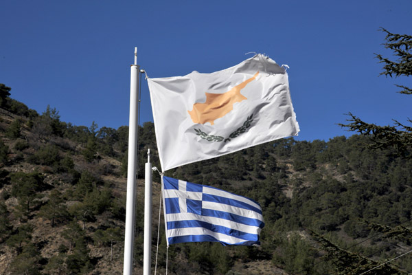 The white flag of the Republic of Cyprus is usually displayed together with the flag of Greece