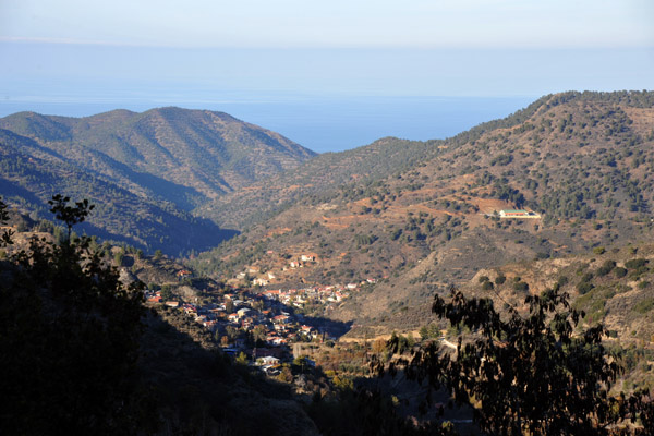 On a clear day you can see the mountains of Turkey from the Troödos Mountains in Cyprus