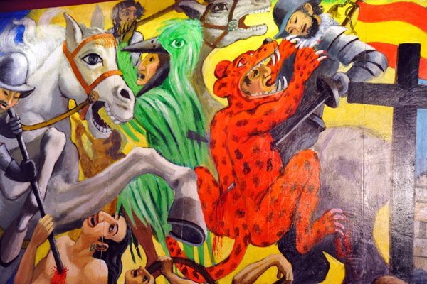 Mural - History of El Salvador - Spanish conquest