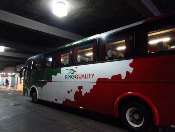 My King Quality bus for the journey towards San Pedro Sula, Honduras