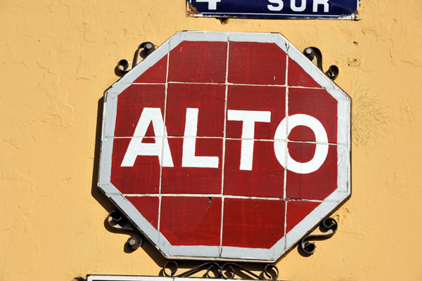 Tile stop sign in the UNESCO World Heritage City of Antigua Guatemala
