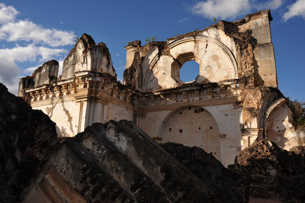 Giant blocks of rubble from the collapsed roof and fallen walls fill the churchs interior