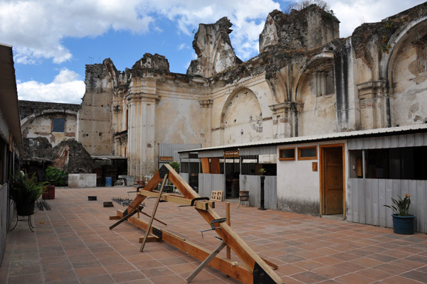 Carpentry workshops inside the ruins of the Jesuit Church, Antigua Guatemala