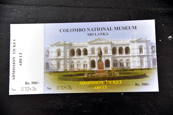 Admission ticket to the Colombo National Museum