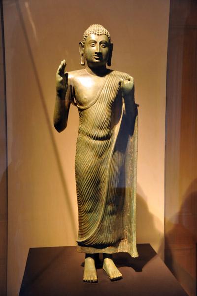 Standing Buddha - solid cast bronze, 9-10th C. AD