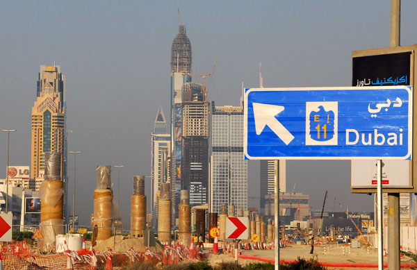 Posts for the elevated Dubai Metro along Sheikh Zayed Road