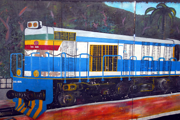 Painting of a Senegalese locomotive, Dakar Railway Station