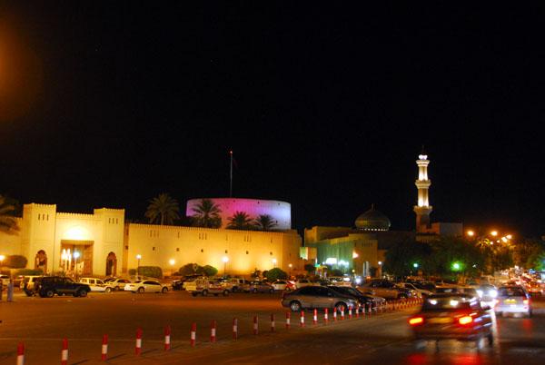 Nizwas old town illuminated at night