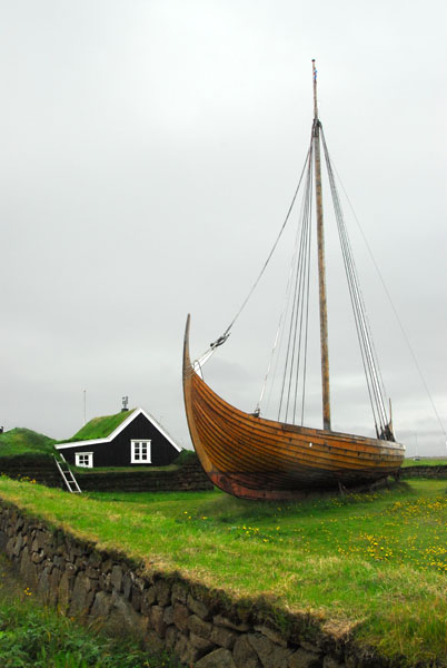 Viking ship Íslendingur at Stekkjarkot, a reconstruction of an 1100 year old design, Njarðvík