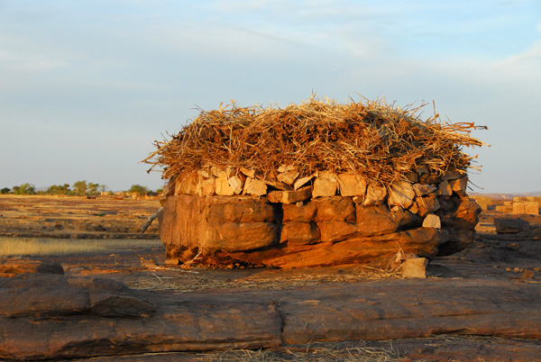 Stone hut with what looks like millet stalks for a roof, Daga