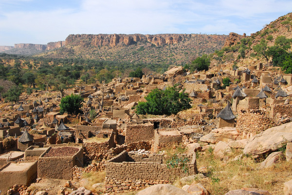 Dogon village of Tereli at the base of the Bandiagara Escarpment